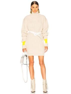 Banded Sleeve Turtleneck Sweater Dress