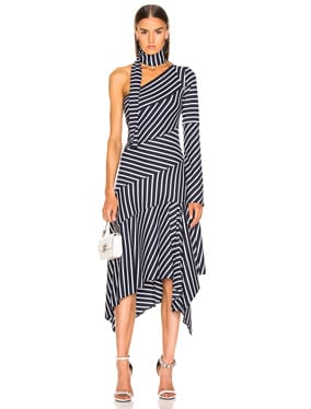 Striped Chevron Jersey Dress