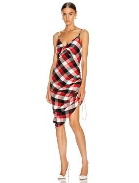 Twisted Plaid Slip Dress