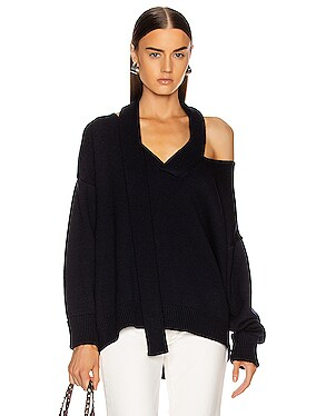 Scarf Neck Drop Shoulder Sweater