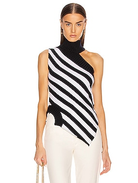 One Shoulder Striped Turtleneck Sweater