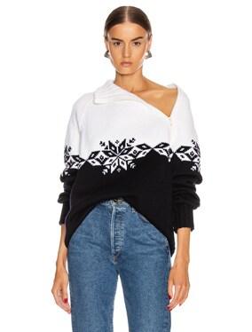Snowflake Zip Turtleneck Sweater