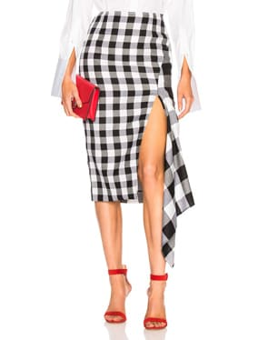 Split Gingham Slash Skirt