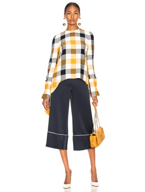 Gingham Button Sleeve Top