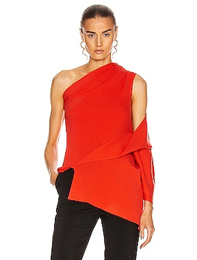 One Shoulder Drape Knit Top