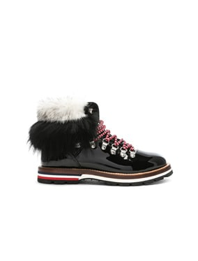 Patent Leather Solange Scarpa Boots With Mink Fur