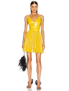 Sequined Pleated Mini Dress