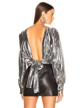 Sequined Wrap Top