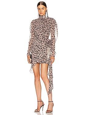 Leopard Gathered Bow Mini Dress