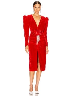 Velvet V Neck Midi Dress