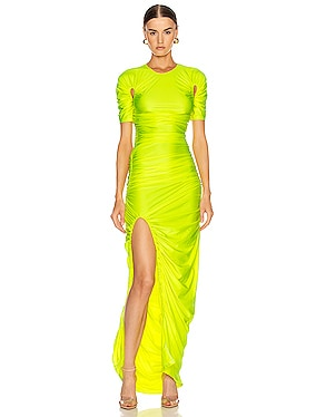 Cutout Ruched Slit Dress