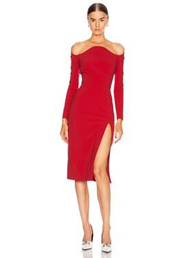 Off the Shoulder Slit Midi Dress