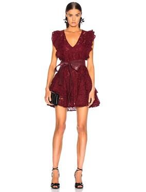 Corrine Lace & Leather Dress