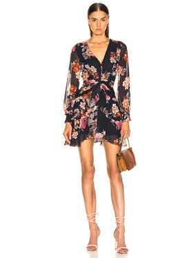 Rust Floral Pintuck Mini Dress