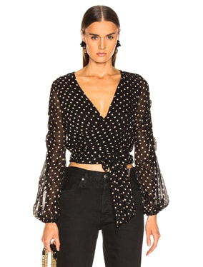 Polka Dot Pintuck Wrap Top