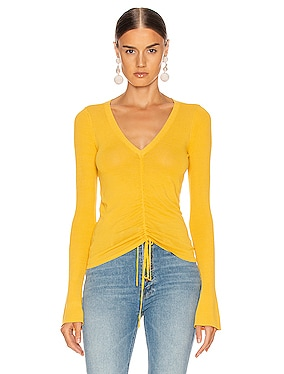 Compact Ruched Front Tie Top