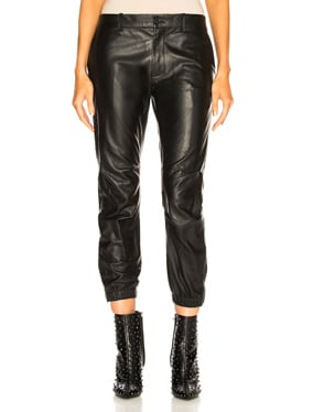 Leather Cropped French Military Pant