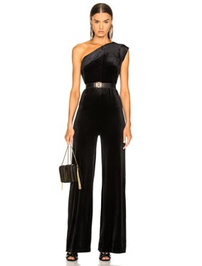One Shoulder Velvet Jumpsuit