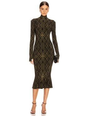 Long Sleeve Turtleneck Fishtail Dress To Midcalf