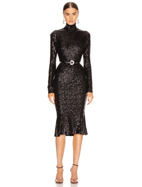 Sequin Long Sleeve Turtleneck Fishtail Dress
