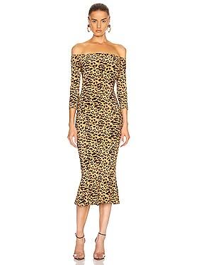 Off Shoulder Fishtail Midcalf Dress
