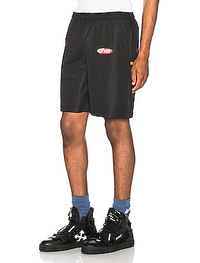 Split Logo Mesh Shorts