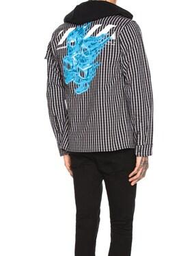 Striped Printed Hoodie Shirt