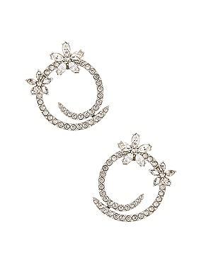 Pave Flower Crystal Hoop Earrings