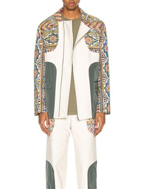 Iranian Print Panel Suit Jacket