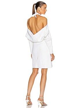 Jacquard Long Sleeve Bandana Neck Dress