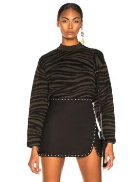 Tiger Jacquard Mockneck Sweater