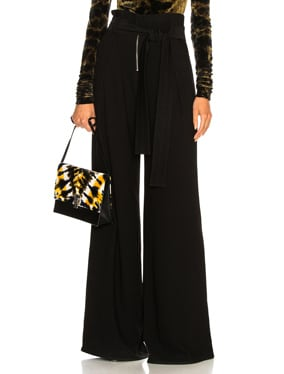 Textured Crepe Wide Leg Pants