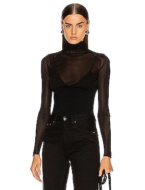 Long Sleeve Matte Turtleneck Top