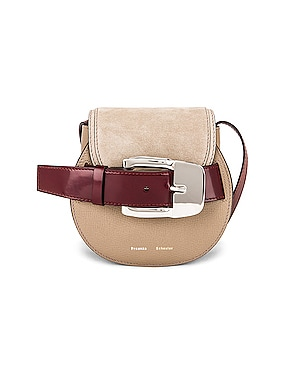 Mini Leather & Suede Buckle Crossbody Bag