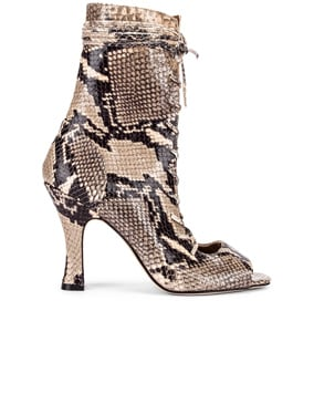 Python Print Lace Up Bootie