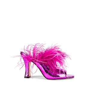 Metallic Coconut Square Toe Mule with Marabou Feathers