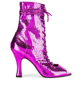 Metallic Snake Lace Up Bootie