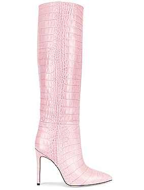 Soft Moc Croco Tall Boot Stiletto Heel