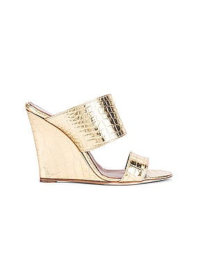 Metallic Croco 2 Strap Wedge