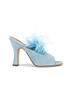 Suede Square Toe Mule with Marabou Feathers