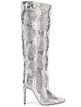 for FWRD Python Lame Stiletto Tall Boot