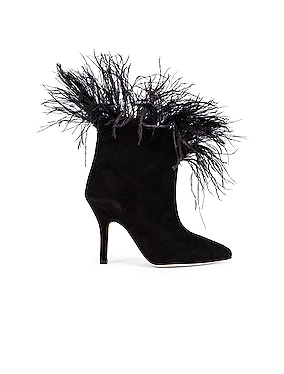 for FWRD Suede Stiletto Ankle Boot with Marabou Feathers
