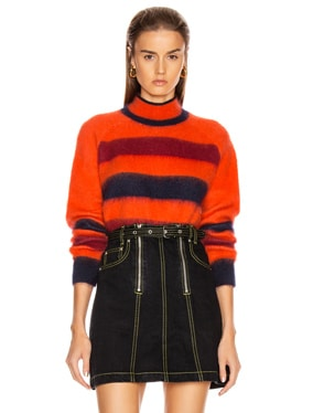 Long Sleeve Cropped Stripe Sweater