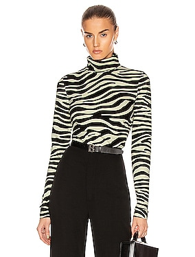 Jersey Long Sleeve Turtleneck Top