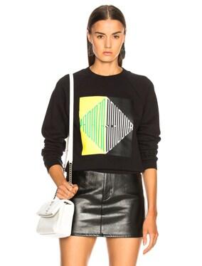 Split Diamond Printed Shrunken Sweatshirt