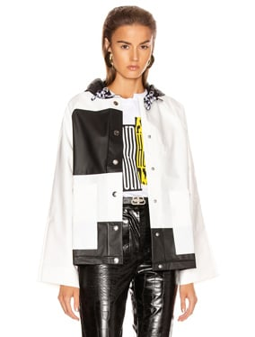 Colorblock Short Raincoat