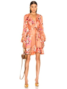 Floral Carmen Mini Wrap Dress