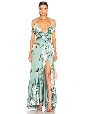 Orchid Print Maxi Wrap Dress
