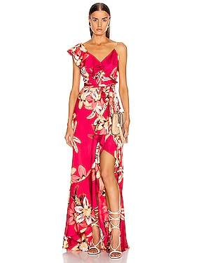 Floral Carmen Maxi Wrap Dress