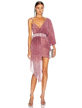 Ombre Lurex Asymmetric Belted Mini Dress